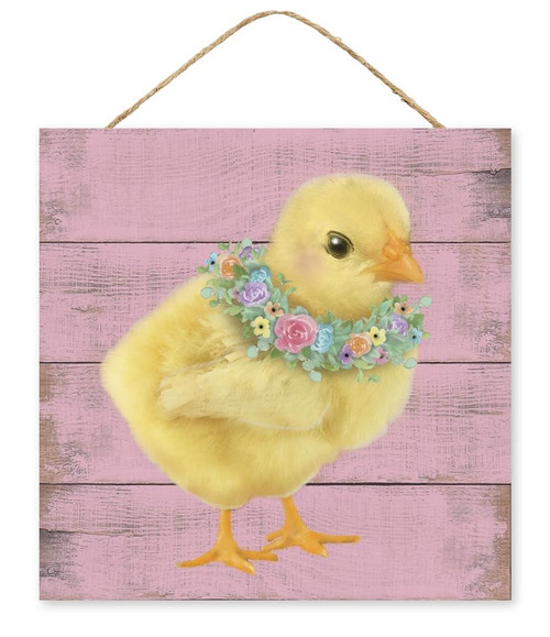 """10"""" Chick w/ Floral Wreath Sign"""