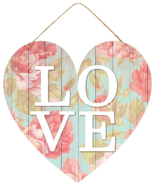 """12"""" Floral Love Heart Sign"""