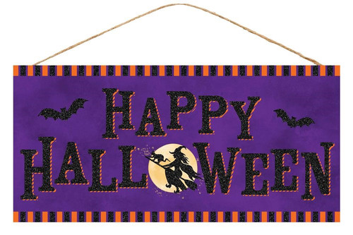 """12.5"""" Happy Halloween Witch Sign"""