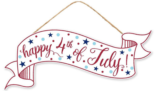 """15"""" Happy 4th of July Banner Sign"""