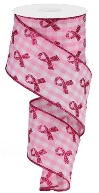 """2.5""""  Breast Cancer Awareness Ribbon: Pink/White Gingham  - 10Yds"""