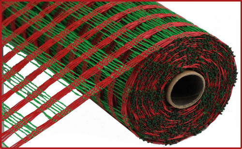 """10"""" Poly Burlap Weaved Mesh: Red/Emerald Green"""