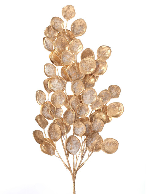 """21"""" Plastic Painted Frost Eucalyptus Spray - Gold"""