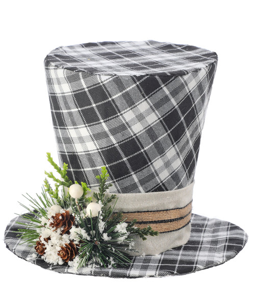 Black/White Country Plaid Top Hat