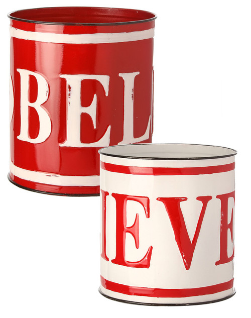 """8"""" Metal """"Believe"""" Container -  White"""