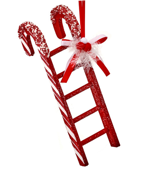 """12"""" Peppermint Candy Ladder Ornament: Red/White"""