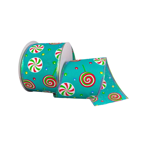 """2.5"""" Teal Whimsical Candy Ribbon - 10 Yds"""