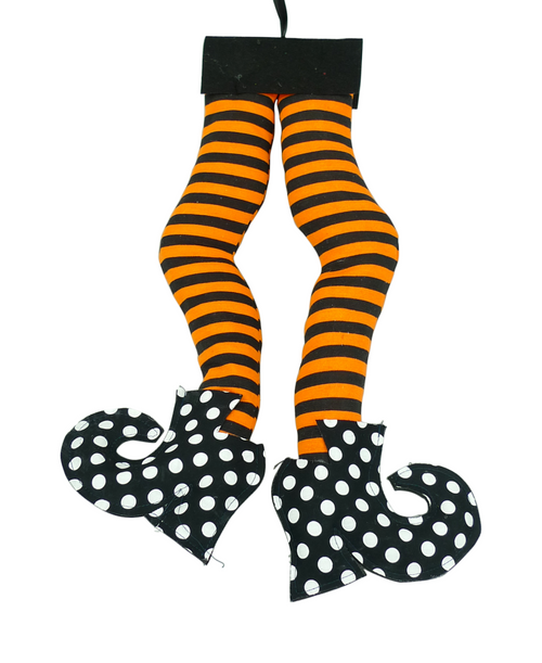 """18"""" Org/Blk Striped Polka Dot Witch Legs"""