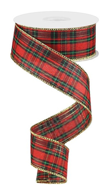 """1.5"""" x 50yd Christmas Plaid Ribbon: Red/Black/Green/Gold with Gold Edge"""