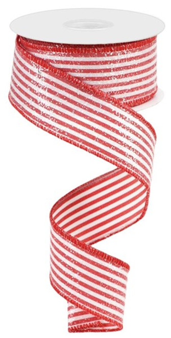 """1.5"""" Vertical Stripe Ribbon with Glitter: Red/White - 10Yd"""