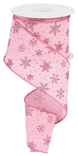"""2.5"""" Scattered Glitter Snowflake Ribbon: Lt Pink/Pink - 10 yards"""
