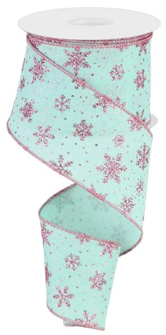 """2.5"""" Scattered Glitter Snowflake Ribbon: Mint Green/Pink - 10 yards"""