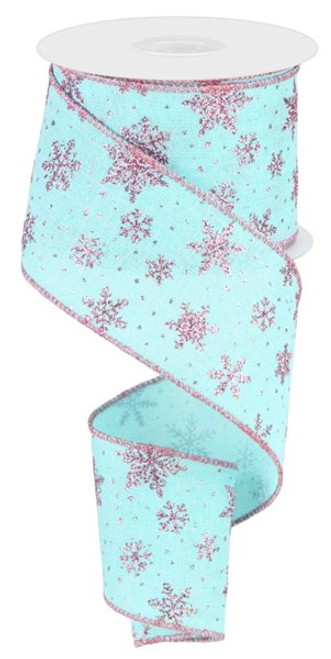 """2.5"""" Scattered Glitter Snowflake Ribbon: Ice Blue/Pink - 10 yards"""