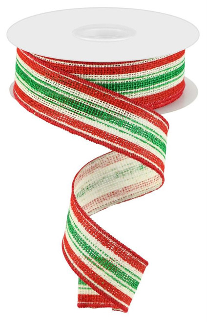 """1.5"""" Vertical Stripe on Faux Burlap Ribbon: Off-White/Red/Emerald - 10 Yds"""