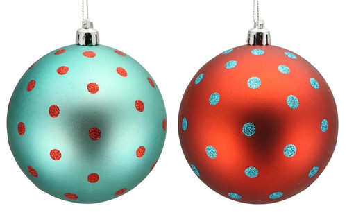 100mm Ball Ornaments: Turq Blue/Red Small Dot, Set of 2