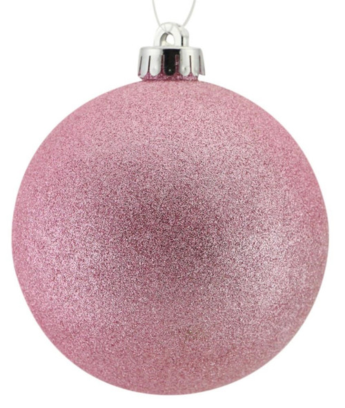 100mm Glitter Ball Ornament: Icy Pink