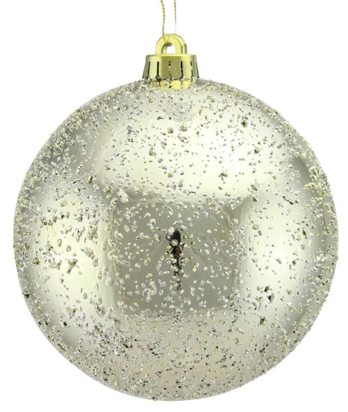 100mm Ice Ball Ornament: Champagne Gold