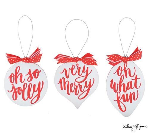 Red/White Fun Christmas Ornaments