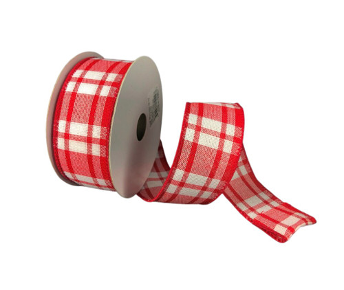 """1.5"""" Red/ White Woven Plaid Ribbon - 10yds"""