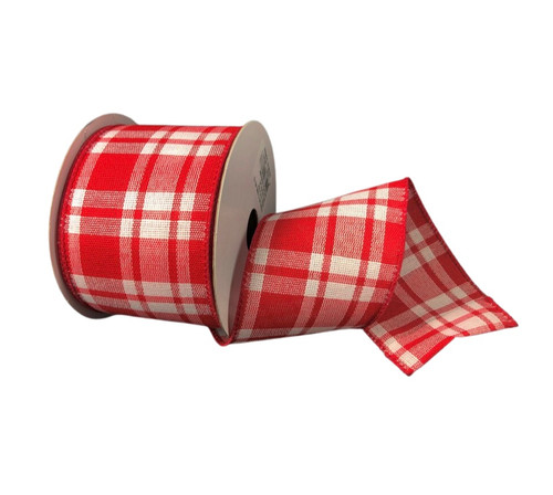 """2.5"""" Red/White Woven Plaid Ribbon - 10yds"""