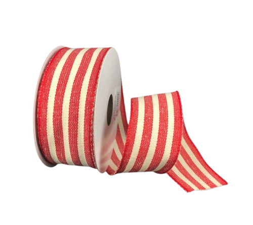 """1.5"""" Red/Cream Rustic Woven Stripes Ribbon - 10 Yds"""