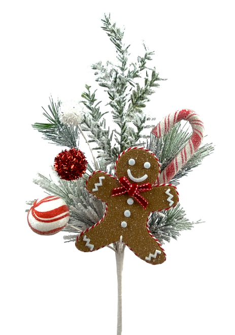 """16"""" Gingerbread Candy Cane Pine Pick"""