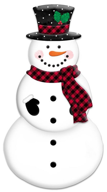 """12"""" Embossed Metal Snowman: Red/Blk Check"""