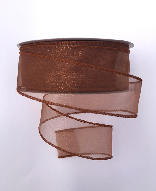 """1.5"""" Sheer Wired Ribbon: Copper Brown (50yds)"""