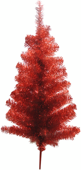 """24"""" Tinsel Tabletop Tree: Red"""