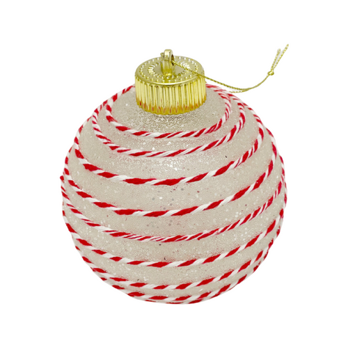 """4"""" Clear Peppermint Stripe Ball Ornaments, Box of 3"""