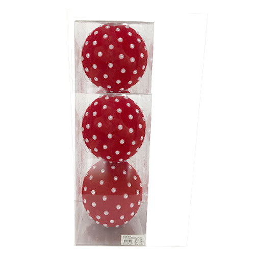 """4"""" Red Flocked Pearl Bead Ornaments, Box of 3"""