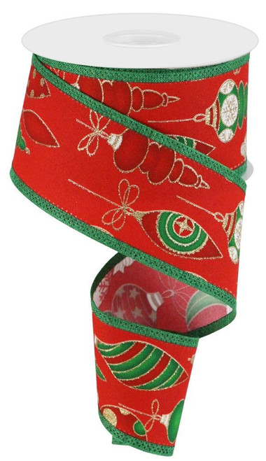 """2.5"""" Christmas Ornament Ribbon: Red/Grn/Gold - 10yd"""