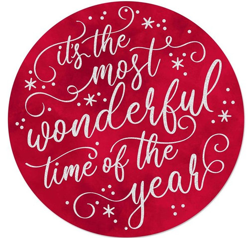 """12"""" Metal Most Wonderful Time of the Year Sign: Red"""