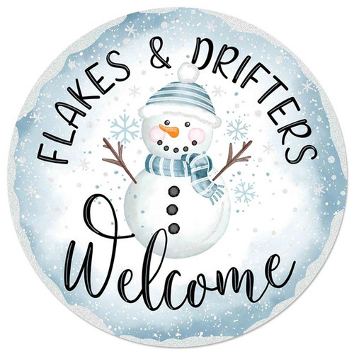 """12"""" Flakes Welcome Metal Sign"""