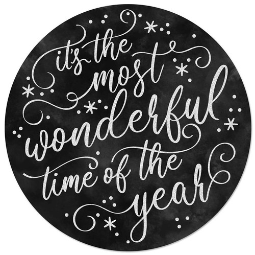 """12"""" Metal Most Wonderful Time of the Year Sign: Black"""