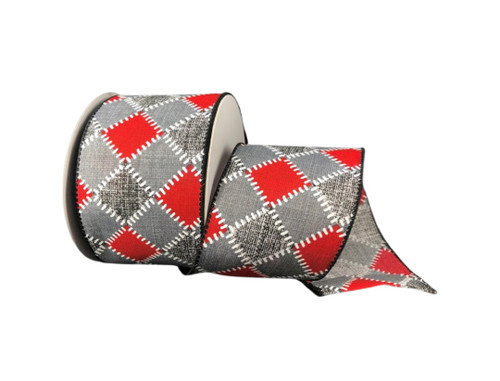 """2.5"""" Red/Grey/Blk/Wht Stitch Chex Ribbon - 10 Yds"""