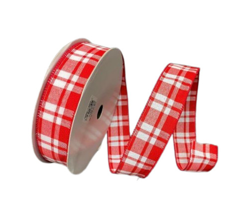 """1.5"""" Red/Wht Woven Plaid Ribbon - 50yds"""