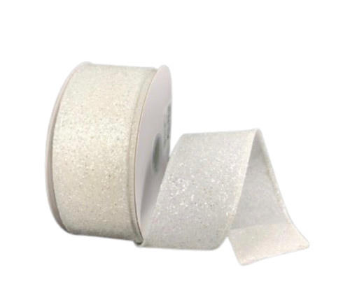 """1.5"""" White Frosted Glitter Ribbon - 10yds"""
