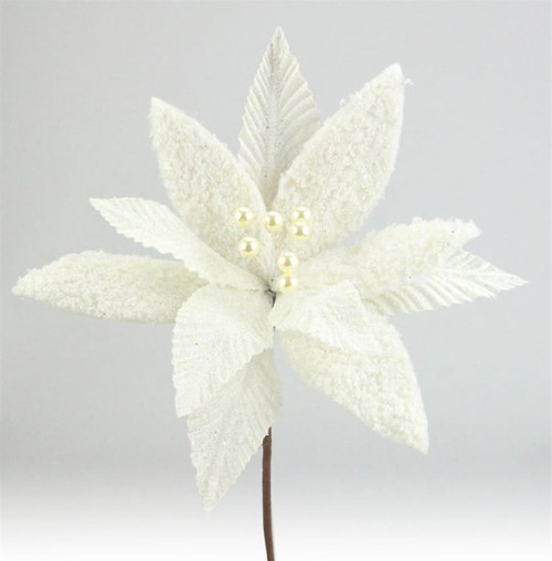 Frosted/Glittery Poinsettia Stem:  Ivory