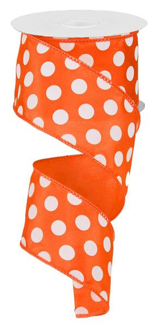 "Orange and White Polka Dot Satin Ribbon Wired - 2.5"" x 10Yds"
