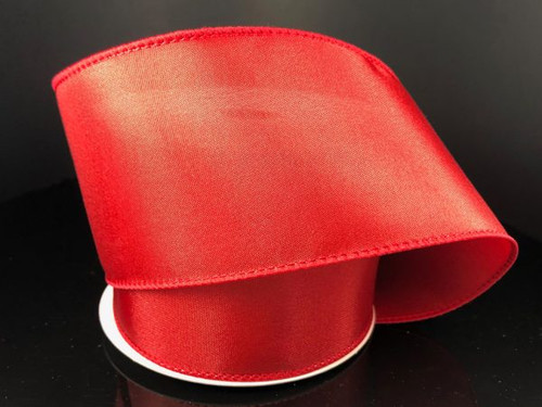 """Solid Red Satin Ribbon Wired 2.5"""" x 10Yds"""