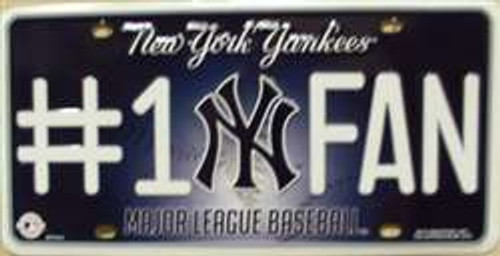 New York Yankees Fan MLB Embossed Metal License Plate