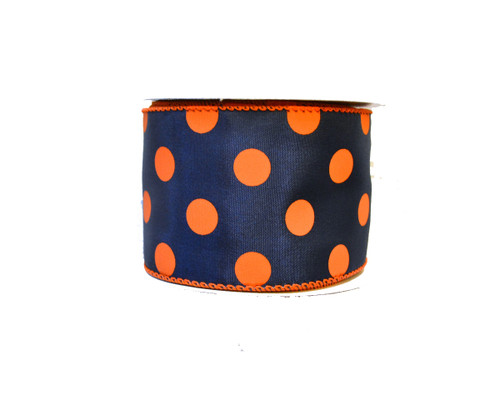 "2.5"" Polka Dot Ribbon: Navy/Orange - 10 yards"