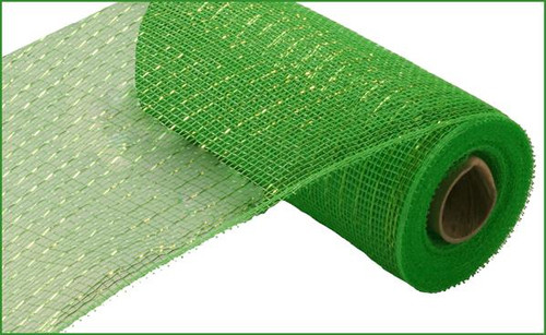 "10"" Deco Poly  Mesh: Metallic Lime Green with Lime Foil"