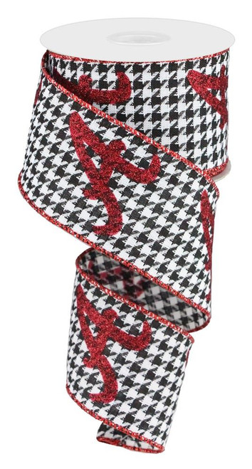 "2.5"" Houndstooth Ribbon with Red A - 10Yds"