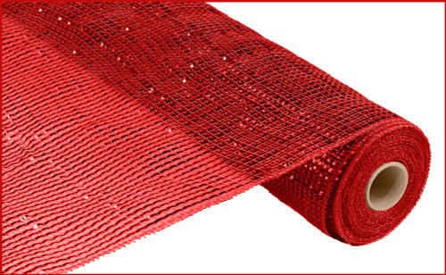 """Deco Mesh - Wide Foil - Red w/ Red Foil - 21"""" X 10Yd (RE104124)"""