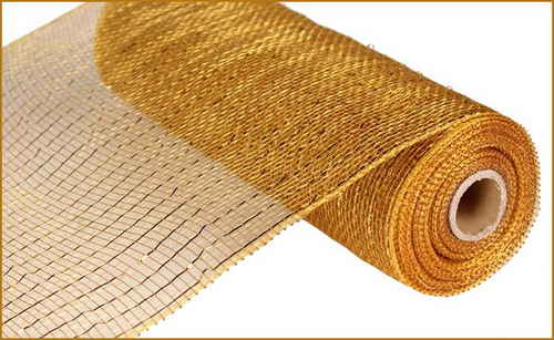 "10"" Deco Poly Mesh: Metallic Gold/Brown with Gold Foil"