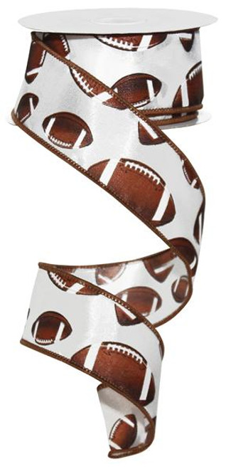 "Football  Ribbon - Brown and White - 1.5"" X 10Yd"