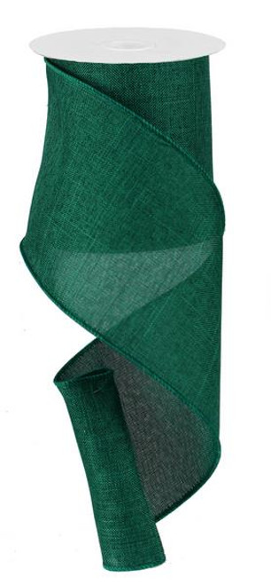 "Emerald Green Royal Faux Burlap Ribbon - 4"" x 10Yd"