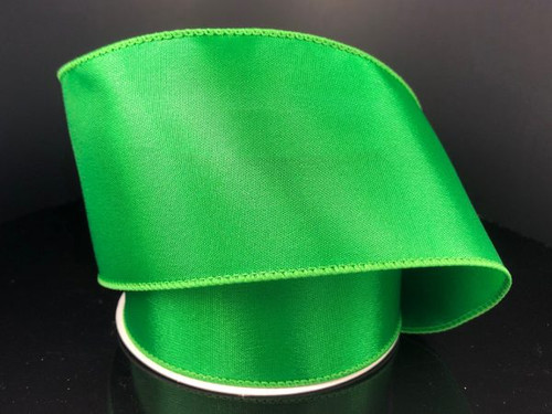 """Solid Emerald Green Satin Ribbon Wired 2.5"""" x 10Yds"""